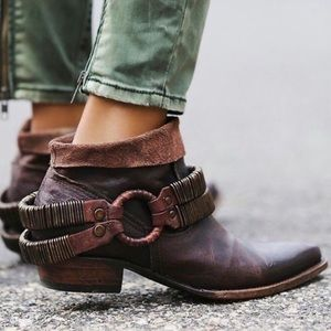 Freebird by Steven Eve Dark Leather Ankle Booties